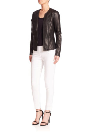 "Elie Tahari ""Wilma"" lambskin leather jacket with subtle topstitching"
