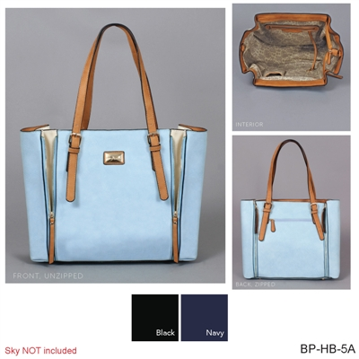 Neutral Zippered Gusset Tote