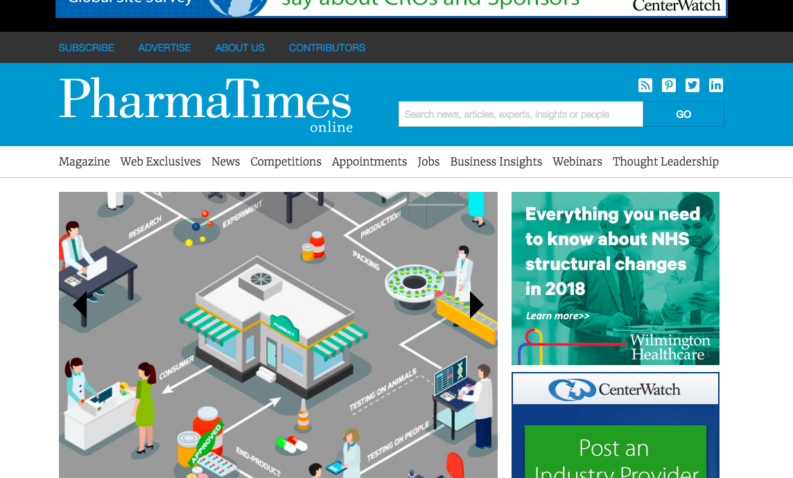 PharmaTimes – in depth news features and insights for the pharmaceutical and healthcare sectors