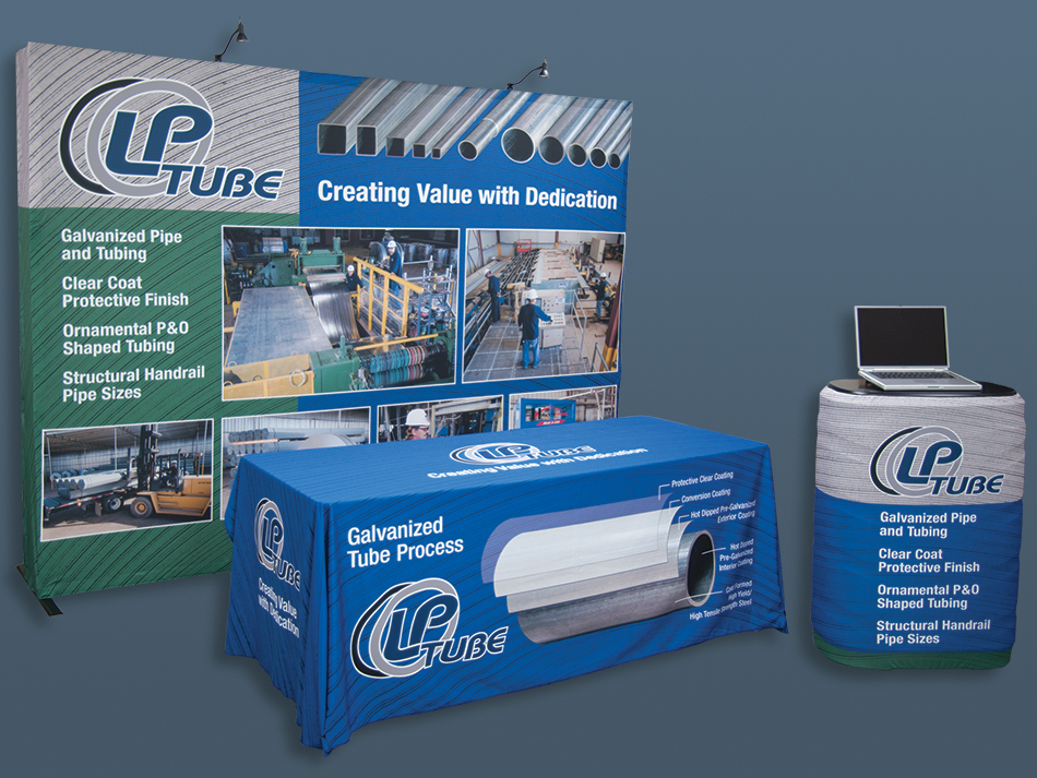 Graphic design sample. We designed and produced this Trade show booth for a Phoenix Steel Company.