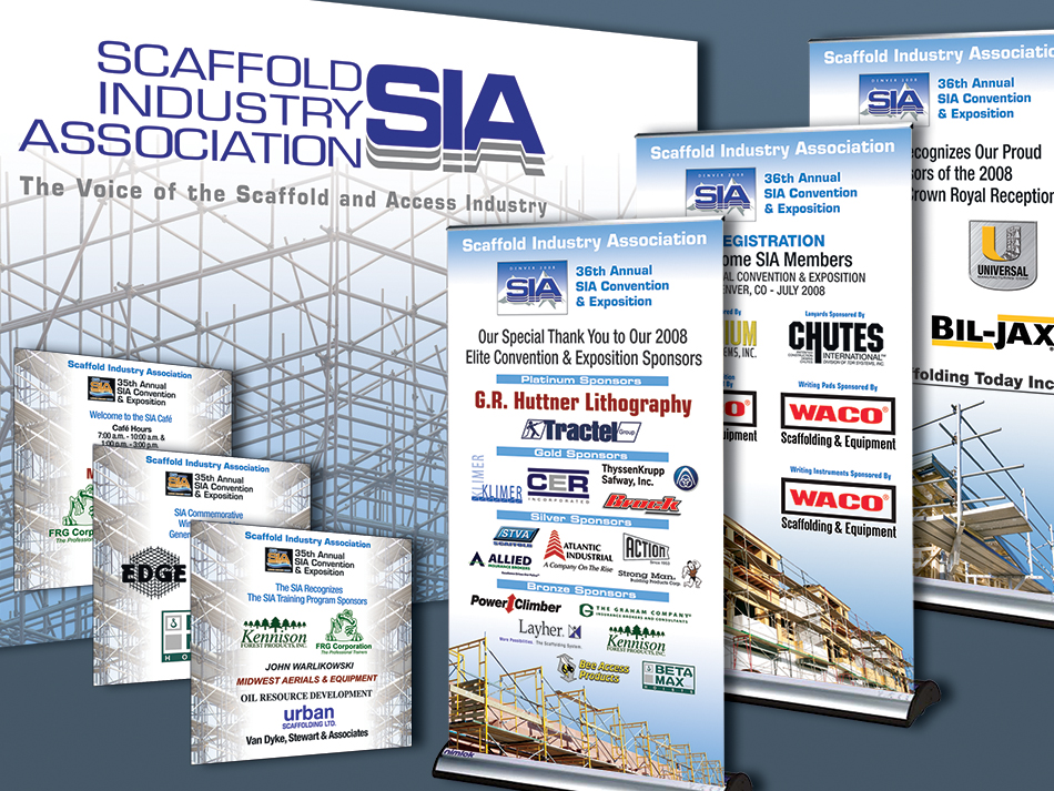 Trade Show graphic samples. Pop up banner stands, large backdrop and signs.
