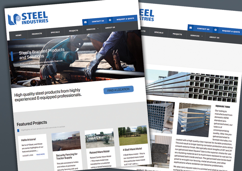website design sample of a local steel company