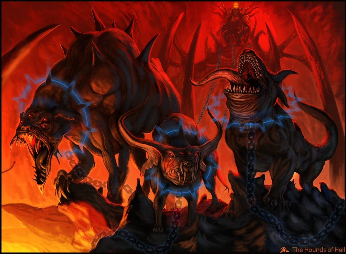 A Battle Between the Hounds of Hell and a Legion of Angels