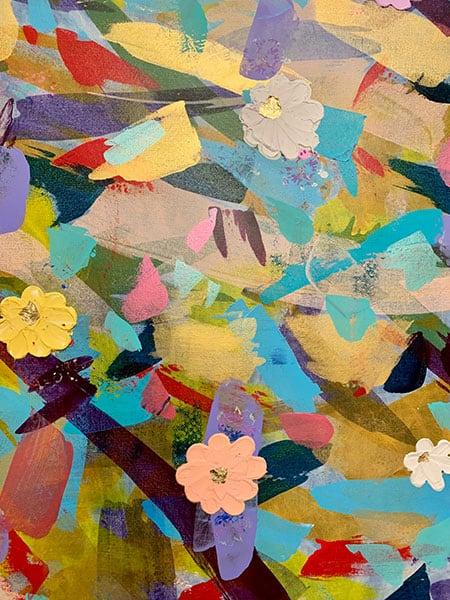 Jana Gamble   Intuitive Original Art Charlottesville   Daisies Detail