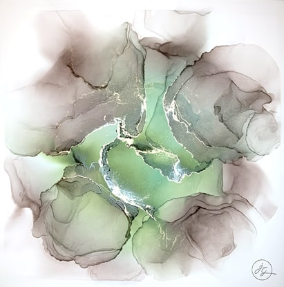 Jana Gamble | Alcohol Ink Artist | Alcohol Ink Art | Mixed Media Art | Acrylic Art | Original Art for Sale | Charlottesville Virginia | Panacea closeup