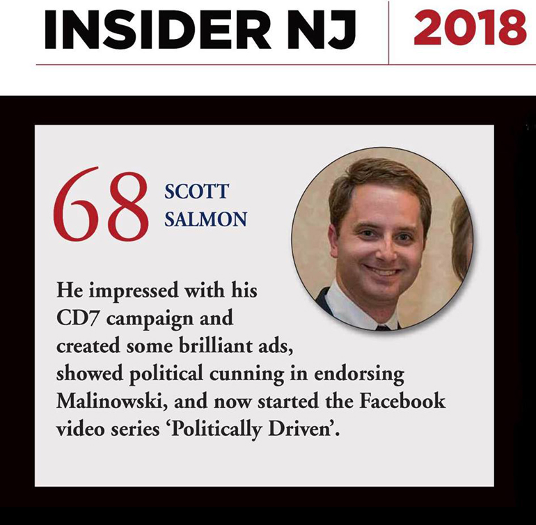 "Scott Salmon Named to NJ Insider's ""100 Insider Millenials"" list"