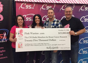 Breast cancer survivor Fiona Mcgarry-gatzke (left) and her husband Kelly (right) donate $25,000 to the C95 Radio Marathon for Breast Cancer Research on Oct. 21, 2016.