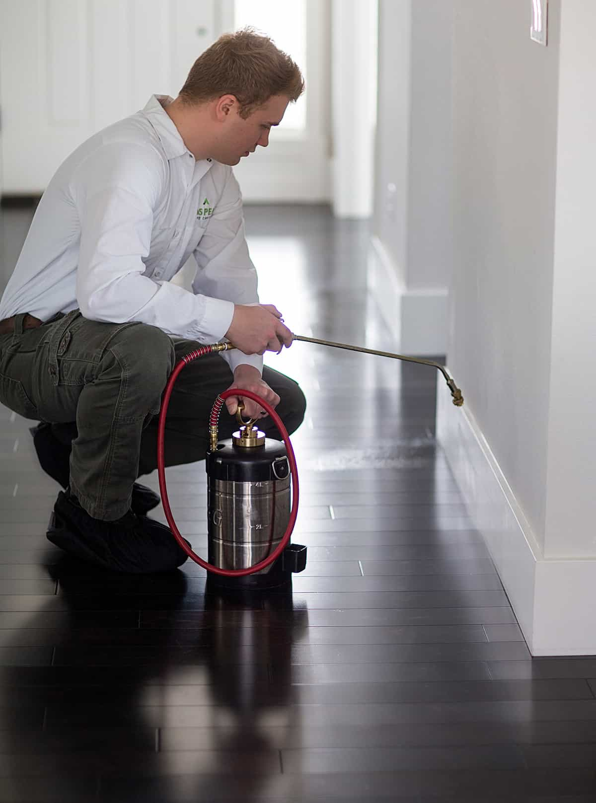 Aspen Pest Control Technician Treating the Floorboards of a Portland OR Home