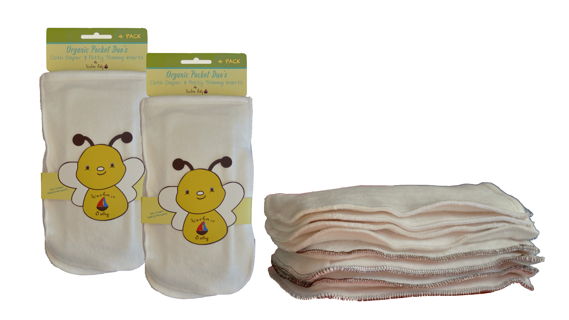 Bamboo/ Organic Cotton Pocket Duo Cloth Diaper & Potty-Training Inserts- 8 Pack: 4 Size Small/4 Size Large
