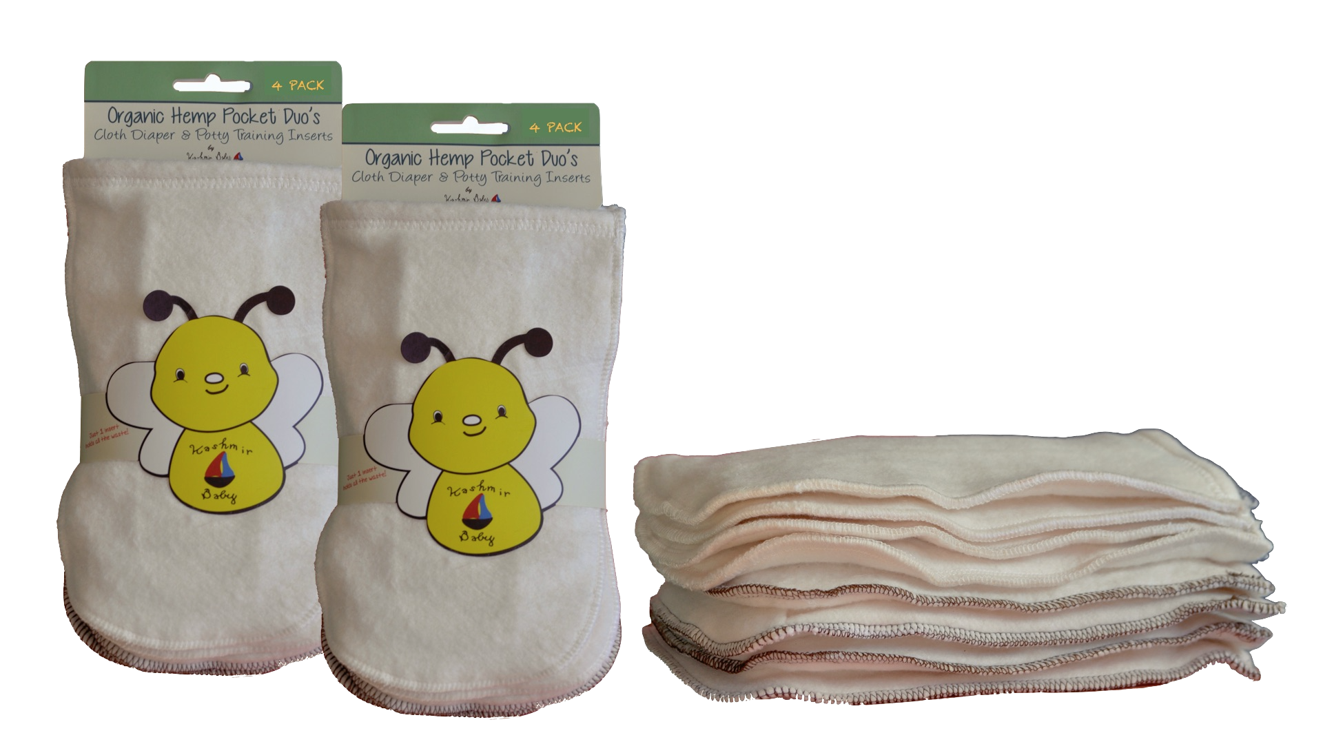 Hemp/Organic Cotton Pocket Duo Cloth Diaper & Potty-Training Inserts- 8 Pack: 4 Size Small/4 Size Large