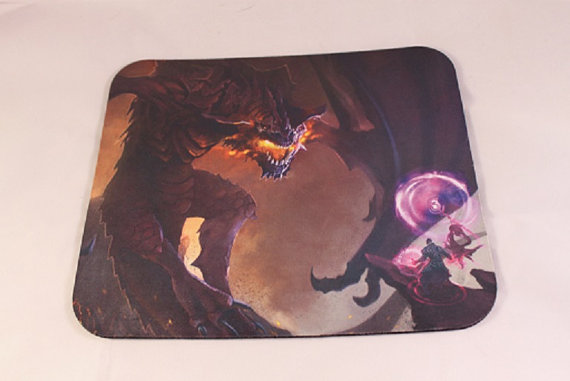 dragon and mage,mouse pad, dragon, dirty dober
