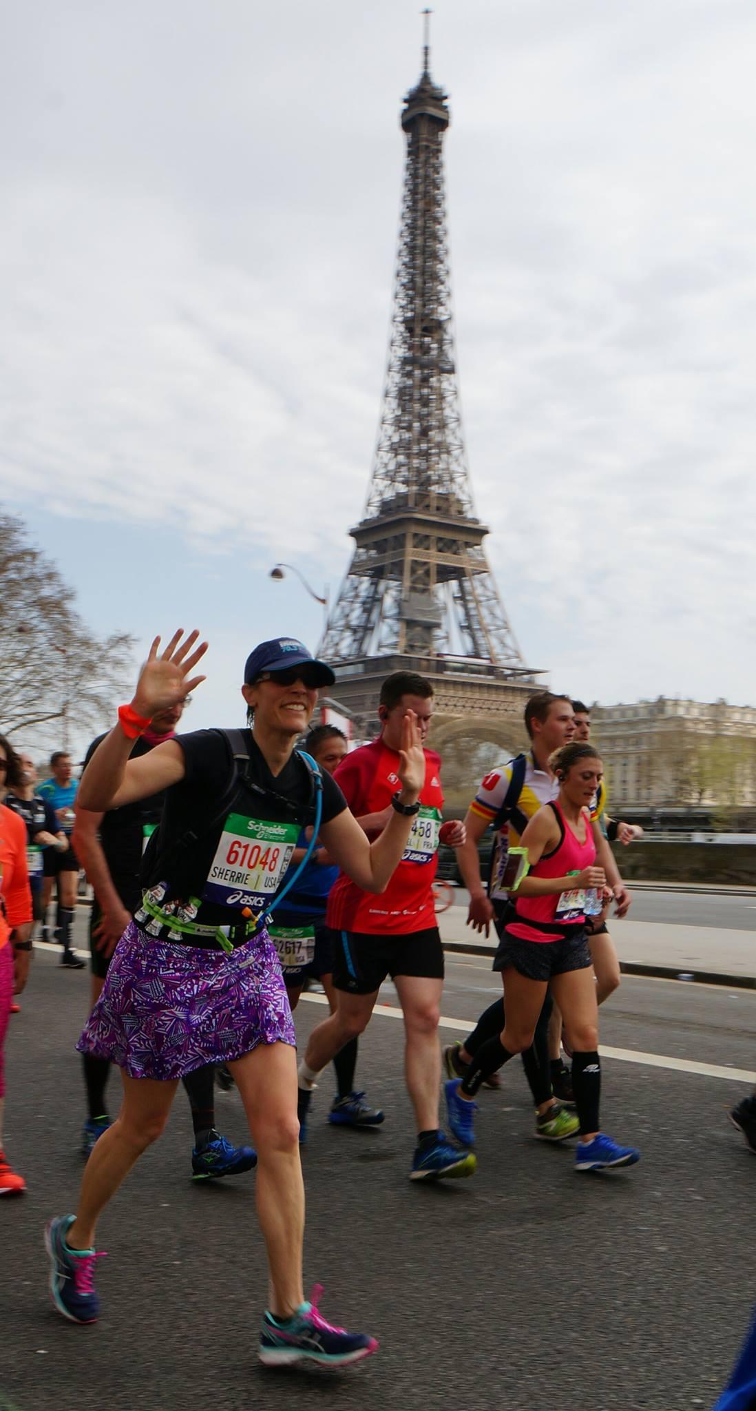 Sherrie Crow runs the Paris Marathon