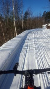 Winter Shared Use Groomed Trail: FATbikes and Snowmobiles in Cable, WI