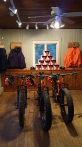 FATbike Shop Interior depicting high performance off-road bike equipment and high quality off-road bike Apparel.