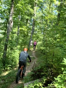 Husband and Wife enjoy guided and supported time in the Northwoods on FATbike riding singletrack trail