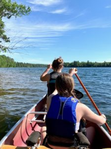 Girls out for a Northwoods canoe guided tour.