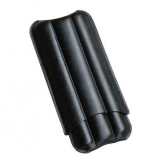 BLACK LEATHER 3 FINGER CIGAR CASE