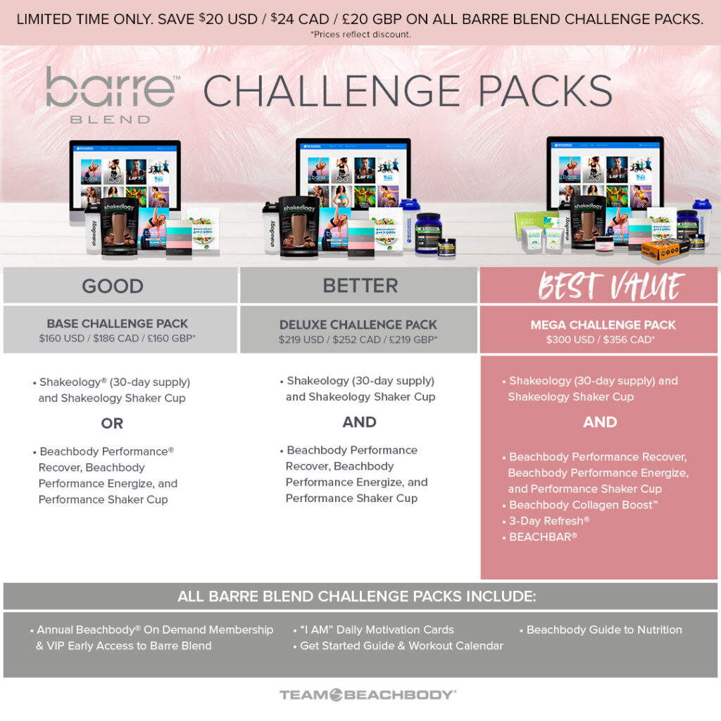 Barre Blend Challenge Pack Comparison Chart