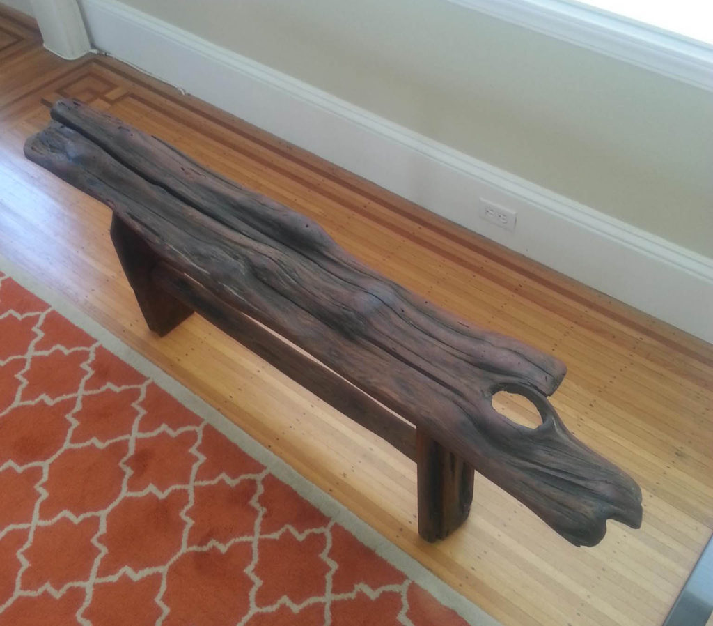 "Horse Bench, Old Growth Redwood  62"" x 11"" 22""h"