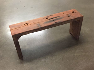 """Square Peg, Old Growth Redwood  34"""" x 7.5"""" x 15.5""""h"""