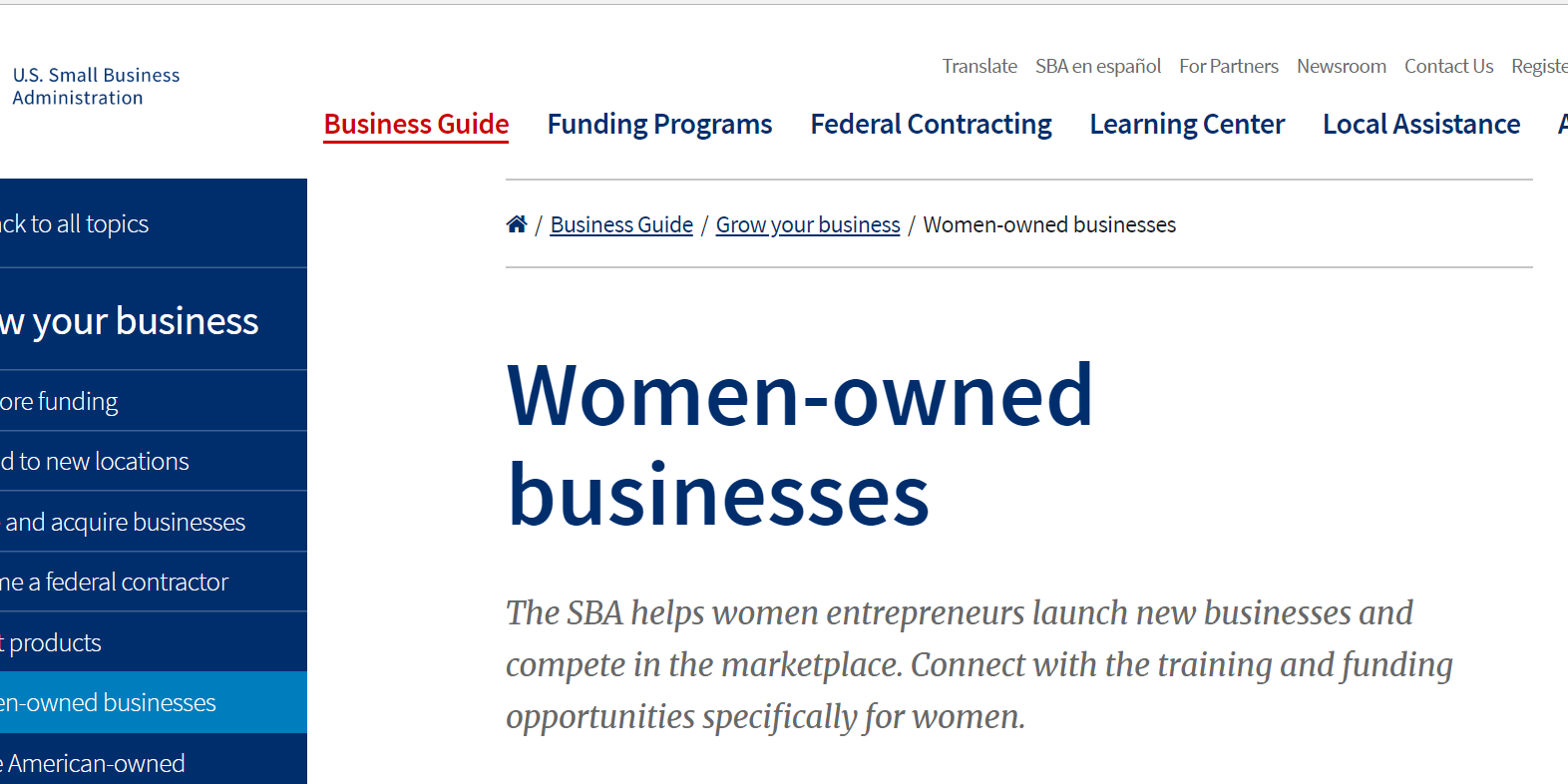 SBA Women-owned small businesses
