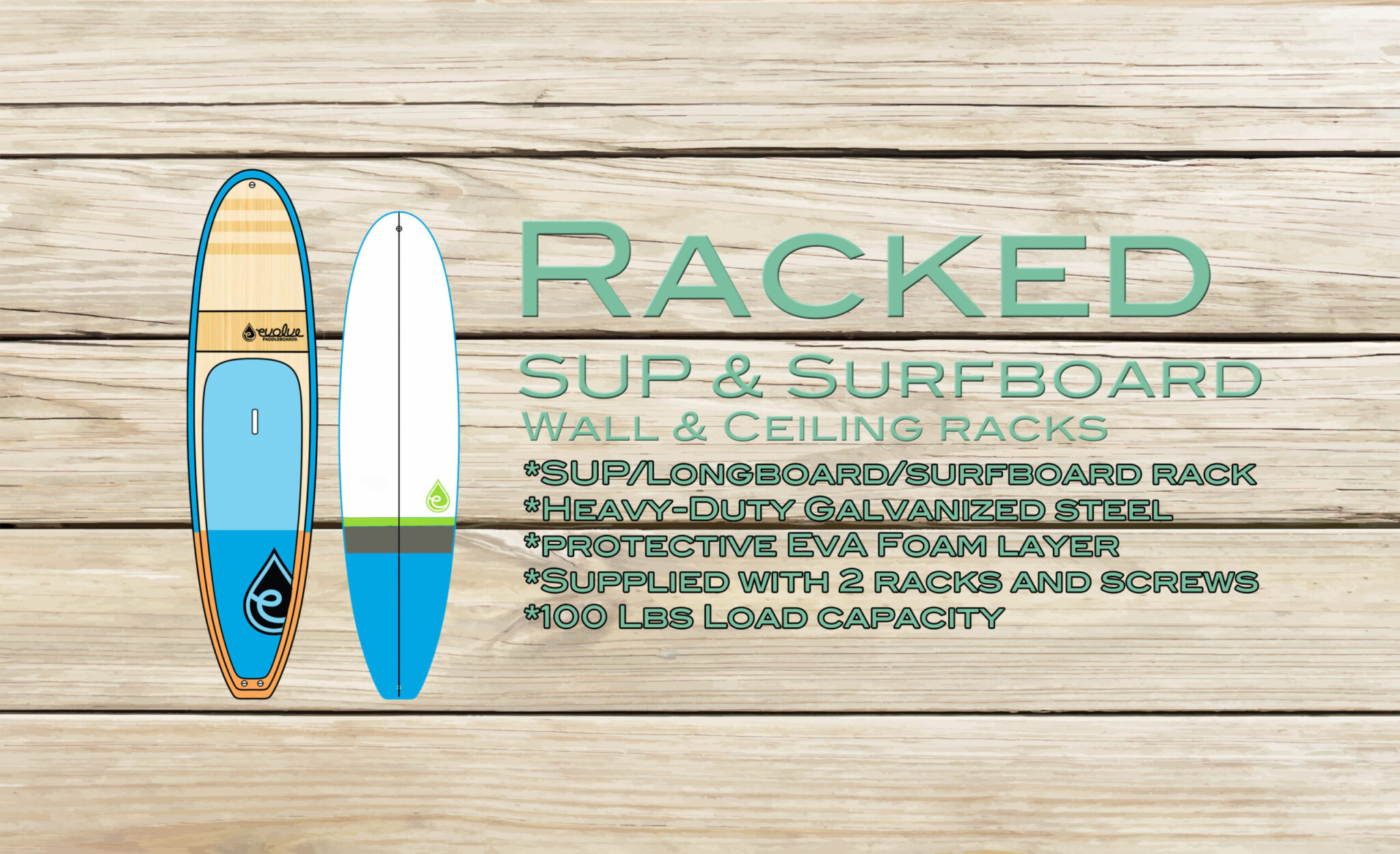 Racked SUP and Surfboard angled and ceiling wall mounts