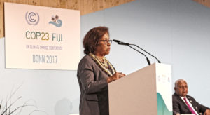 President Hilda Heine speaks to COP23, the global climate summit, in Bonn, Germany.