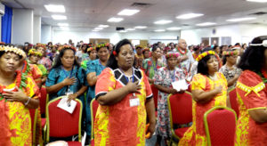 Representatives of Women United Together Marshall Islands (WUTMI) and many others joined the opening of the18th annual conference Tuesday. On Wednesday, conference attendees heard the troubling results of the recently concluded child health survey. Photo: Hilary Hosia.