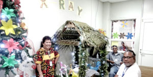 Majuro hospital's Radiology Department won the Christmas decoration competition organized by the Ministry of Health and Human Services. Photo: Hilary Hosia.