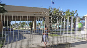Nitijela Clerk Morean Watak stands next to the locked gate in the driveway between Nitijela and the International Conference Center in Majuro that was locked by landowners Tuesday and Wednesday. Photo: Hilary Hosia.