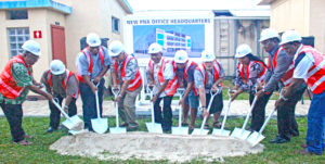 Representatives of the Parties to the Nauru Agreement 9PNA) break ground for their new HQ building in Majuro. Photo: Rebecca Lathrop.