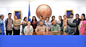 GEM Christian School seniors and chaperones visited the President's Office in Majuro last week where they were welcomed by Education Minister Wilbur Heine (center aloha shirt).