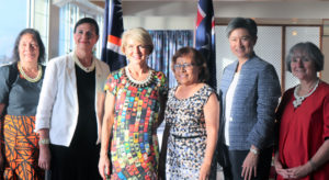Australian Foreign Minister Julie Bishop (third from left) led a team to Majuro last week for meetings. From left: RMI Minister of Culture and Internal Affairs, Minister for International Development and the Pacific Senator Concetta Fierravanti-Wells, Bishop, President Hilda Heine, Leader of the Opposition and Shadow Minister for Foreign Affairs Senator Penny Wong, and Shadow Minister for Women Senator Claire Moore.