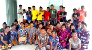 Students from Jaluit High School, Marshalls Christian High School at Rongrong Island and the College of the Marshall Islands in Majuro are currently on Ebon Atoll for a summer program. Photo: Ione deBrum.