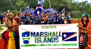 The Marshall Islands athletic delegation during Sunday's opening ceremony at the Micronesian Games in Yap, Federated States of Micronesia.