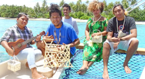 Pictured during the filming on Okeanos, from left: Joan Bwijtak, Alfredo Quiani, Carlon Zackhras, Patsy Glad and Anfernee Nenol Kaminaga. Photo: Kelly Lorennij.