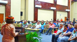 President Hilda Heine spoke to the opening of the two-day Second National Climate Change Dialogue at the International Conference Center in Majuro late last month. Photo: Kelly Lorennij.