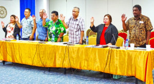 The Kili-Bikini-Ejit Local Government team, led by Acting Mayor Wilson Note (third from right), takes the oath at the start of their recent hearing before the Public Accounts Committee. Photo: Kelly Lorennij.