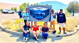 New students at Eastern Oregon University on a field trip to Wallowa County Park are, from left: Yumiko Mark, Laura Slinger, Paulina Anjolok, Nerita Jude, Junior Junious and Laforce Ketwan.