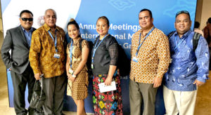 Attending last month's World Bank Group/IMF annual meeting in Indonesia, from left: Ywao Elanzo, Minister Brenson Wase, Malie Tarbwillin, May Bing, Minister David Paul, and Charles Paul.