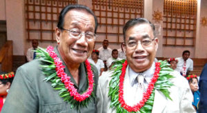 Then-Senator Ruben Zackhras (right) with colleague former President and Senator Litokwa Tomeing at Nitijela in 2013. Both were elected to the first Nitijela in 1979.
