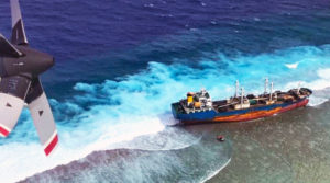 An aerial view of the fish carrier vessel Ou Ya Leng No. 6 that ran aground on the reef at Taka Atoll in the northern Marshall Islands January 3.