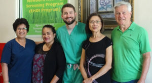 The EHDI screening team at Majuro hospital, from left: screening supervisor Agnes Flood-Tse, EHDI coordinator Chinilla Pedro-Peter, ENT specialist Dr. Ross Shockly, audiologist Yusnita Weirather, and principal investigator Ray Miner. Photo: Kelly Lorennij.