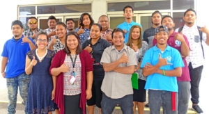 Participants in the Digital Storytelling workshop sponsored by multiple organizations that launched at the International Conference Center April 22. Photo: Kelly Lorennij.