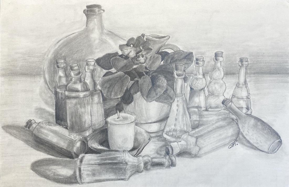 Bottled Violets (Pencil)