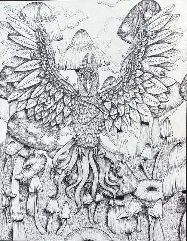Fantasy Bird  Pigma Micron