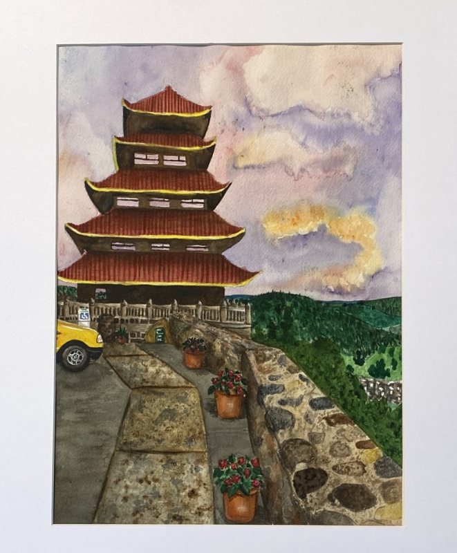 My Visit to the Pagoda (Watercolor)