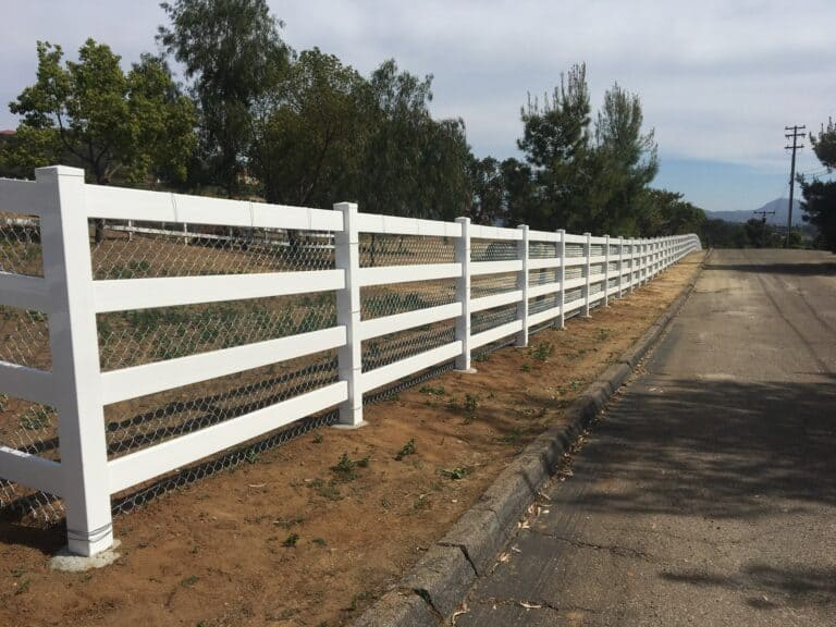 white vinyl chain link legend fence