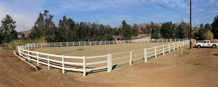 "5' High Vinyl Ranch Fence job in Escondido for Phil BBQ's ""Resque Ranch"" located in Escondido"