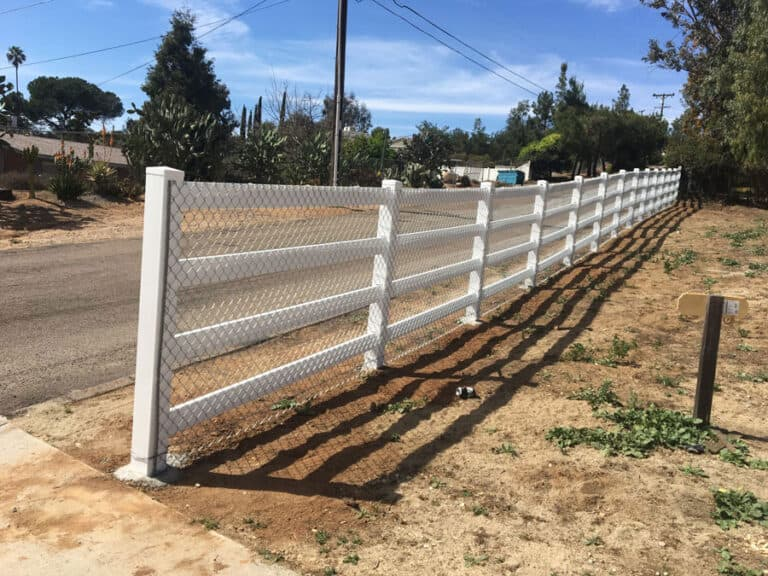 wood post chain link rail fence